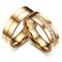 Gold Round Cut Gemstone Titanium Steel Promise Ring for ...