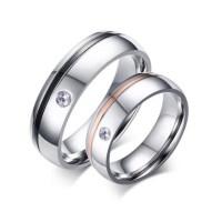 Black & Rose Gold Silver Titanium Steel Promise Rings for ...