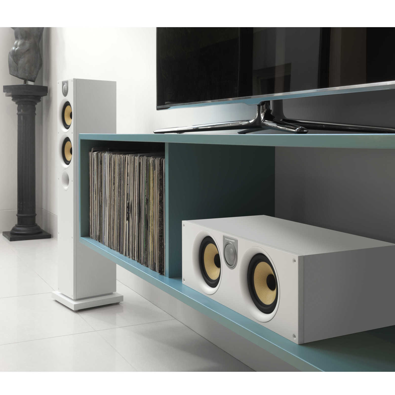 Meuble Tv Pour Ampli Home Cinema B Andw Htm62 S2 Blanc Enceintes Hifi Bowers And Wilkins Sur