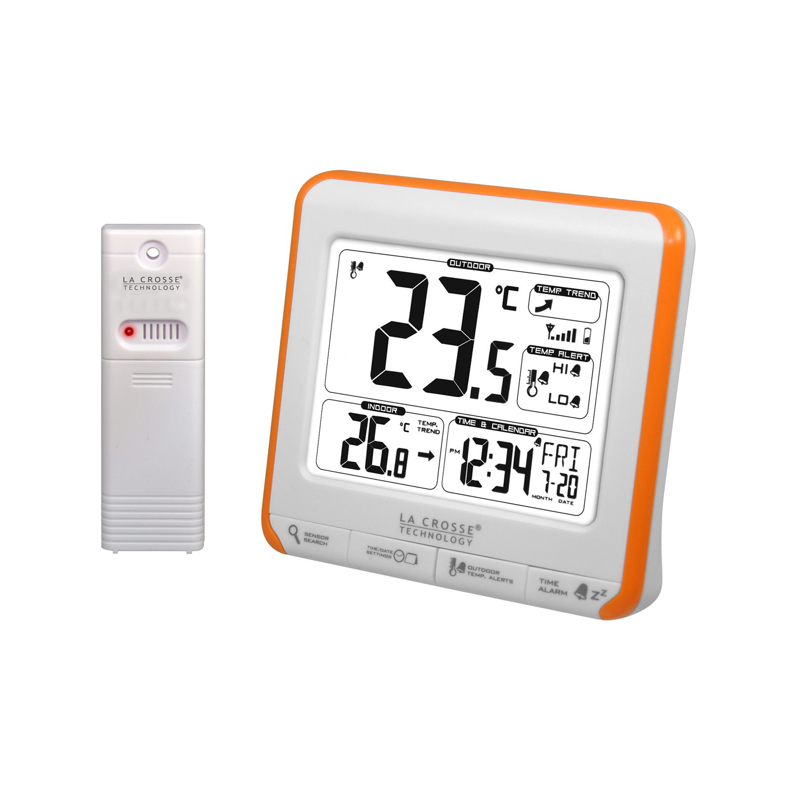 Station Meteo Interieur Exterieur Sans Fil La Crosse Technology Ws6811 Orange Station Météo La