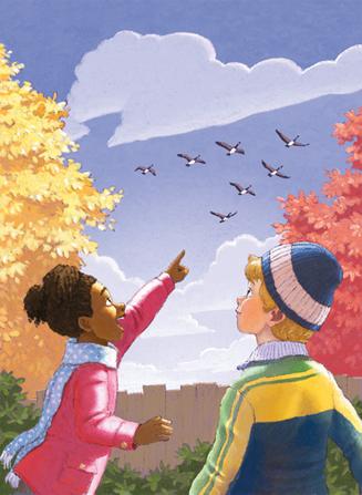 Cartoon Fall Wallpaper Geese Flying