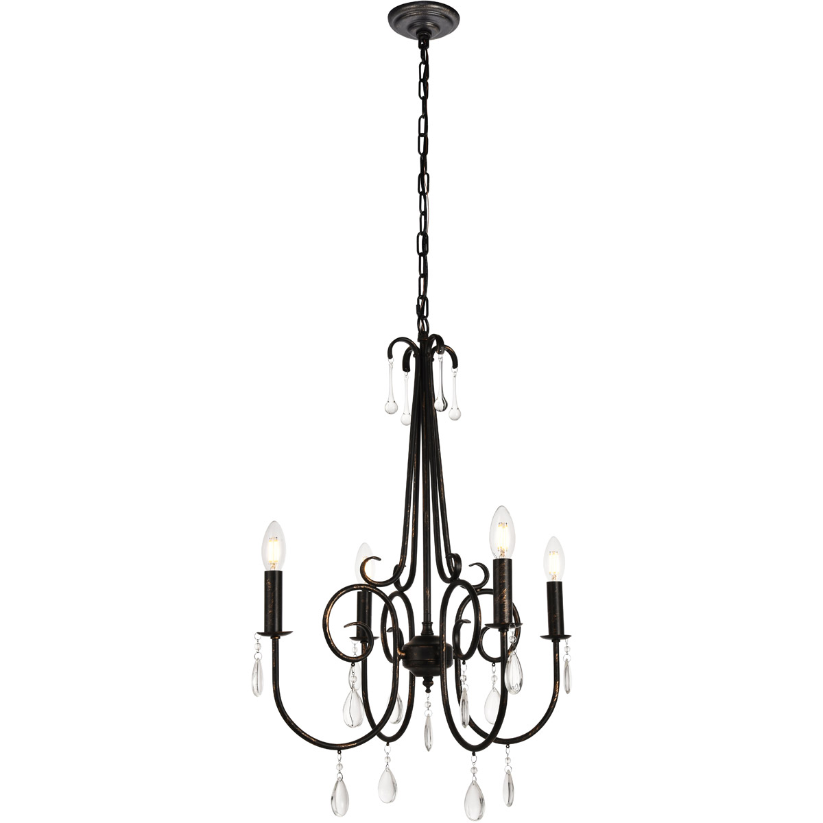 Black Wrought Iron Kitchen Light Fixtures 4 Light 29