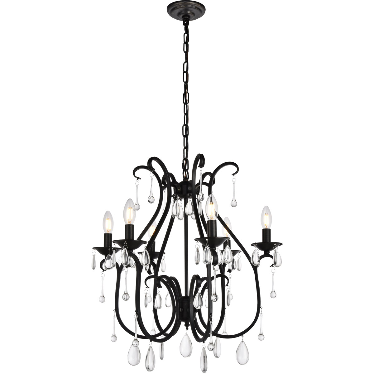 Black Wrought Iron Kitchen Light Fixtures 6 Light 25