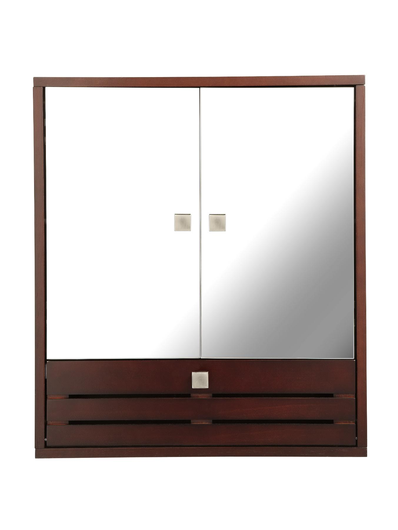 3 Door Mirrored Bathroom Cabinet Slatted 3 Door Mirrored Bathroom Cabinet Dark Wood