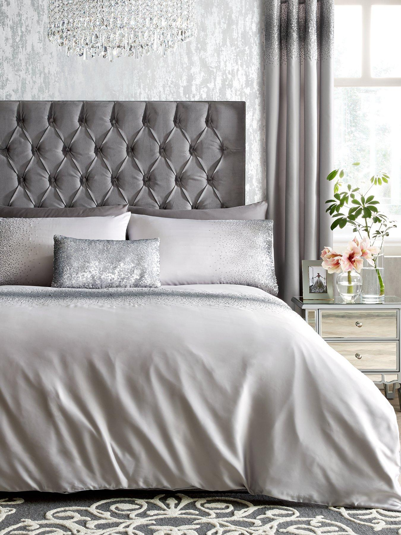 Charcoal Bedding Sets Bedding Sets Duvet Covers Ombre Sequins Band Silver Charcoal