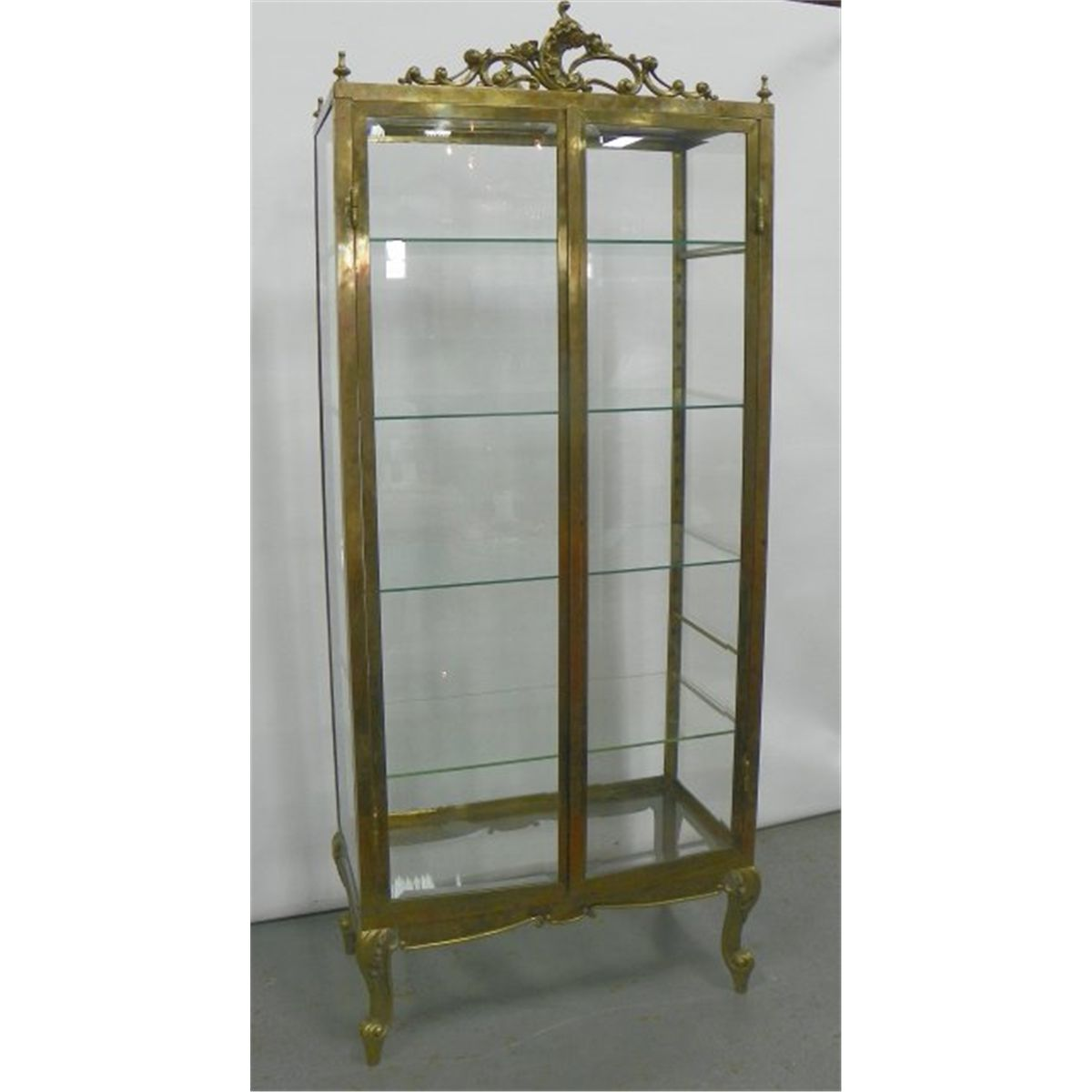 Glass Display Cabinet Mid Century Brass And Glass Curio Display Cabinet