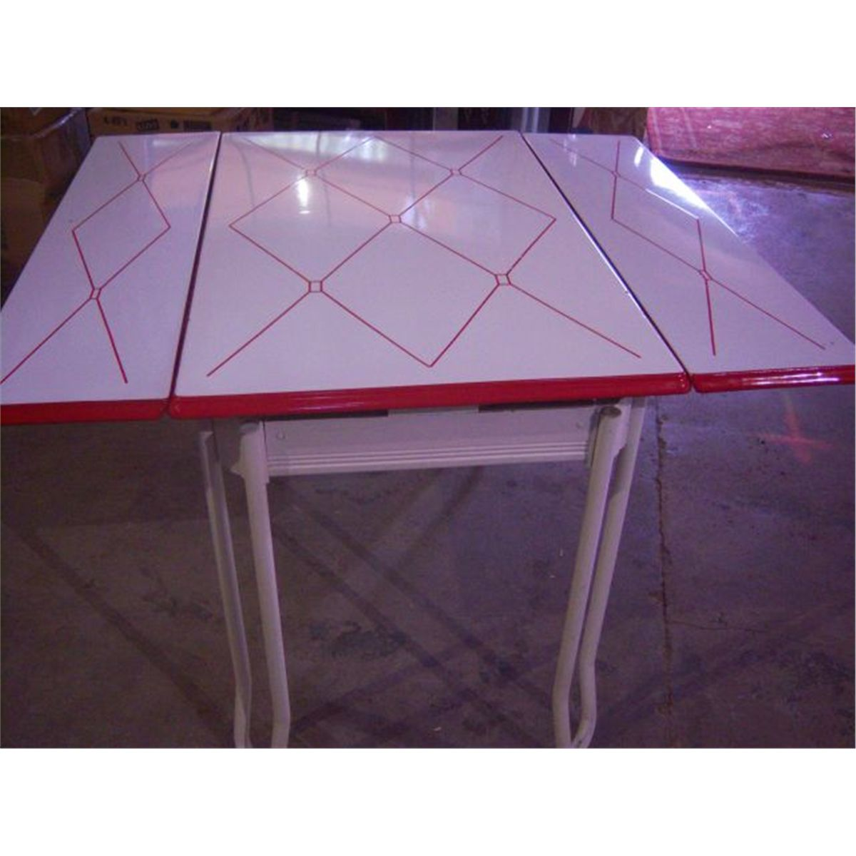 Table With Slide Out Leaves Retro 1950 39s Metal Dining Table W 2 Slide Out Leaves