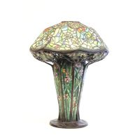 "Tiffany style multi color ""Spider Web"" table lamp"