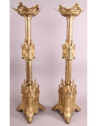 Church Candle Holders (Set of 2), French. Height/ etc.