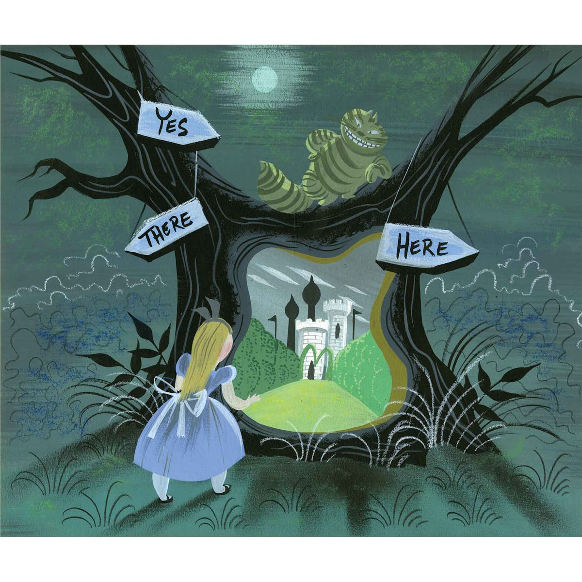 Cute Good Nite Wallpaper Mary Blair Concept Painting Of Alice Amp Cheshire Cat In The