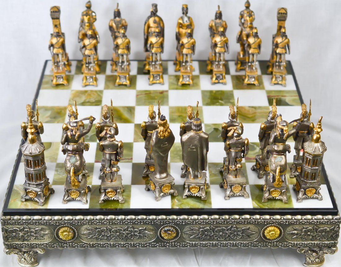 Chest Game Set Vintage Silver And Gold Over Bronze Chess Set