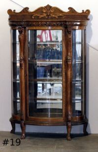 antique curio cabinet with curved glass | Roselawnlutheran