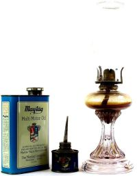 Collection of 3 includes antique glass oil lamp