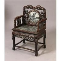 chinese chair with marble seat and back