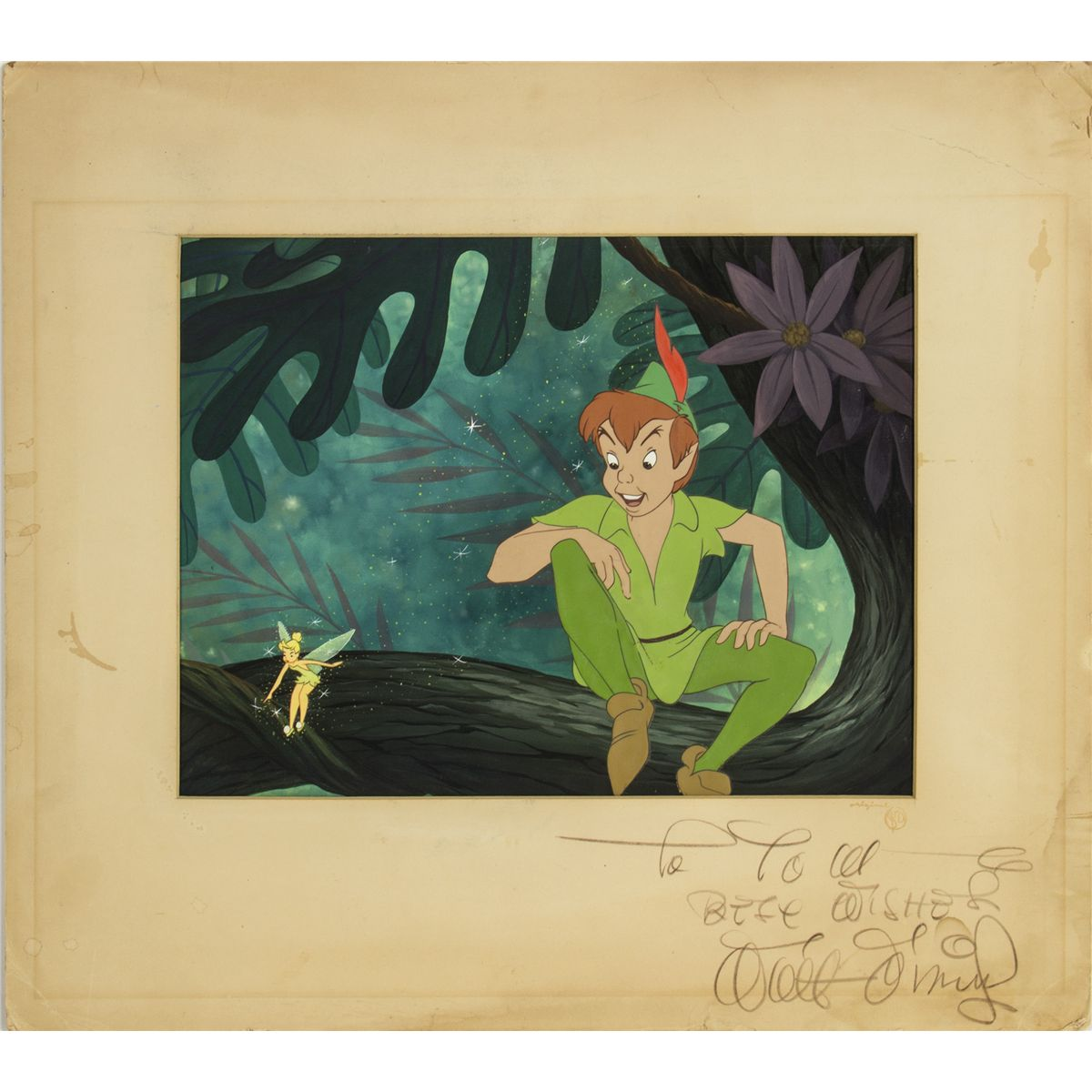 Peter Pan Libro Original Walt Disney Signed Original Production Cel And Background