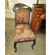 Antique wood chair - upholstered seat & back