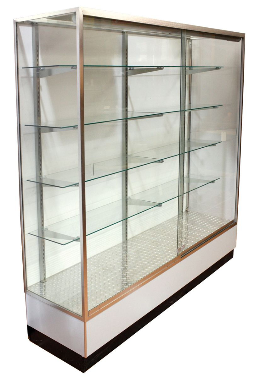 Display Glas Display Case Floor Contemporary Lighted Wood Metal Glass
