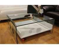 3 PIECE GLASS COFFEE TABLE WITH ROLL OUT MEDIA SHELF, SOFA ...