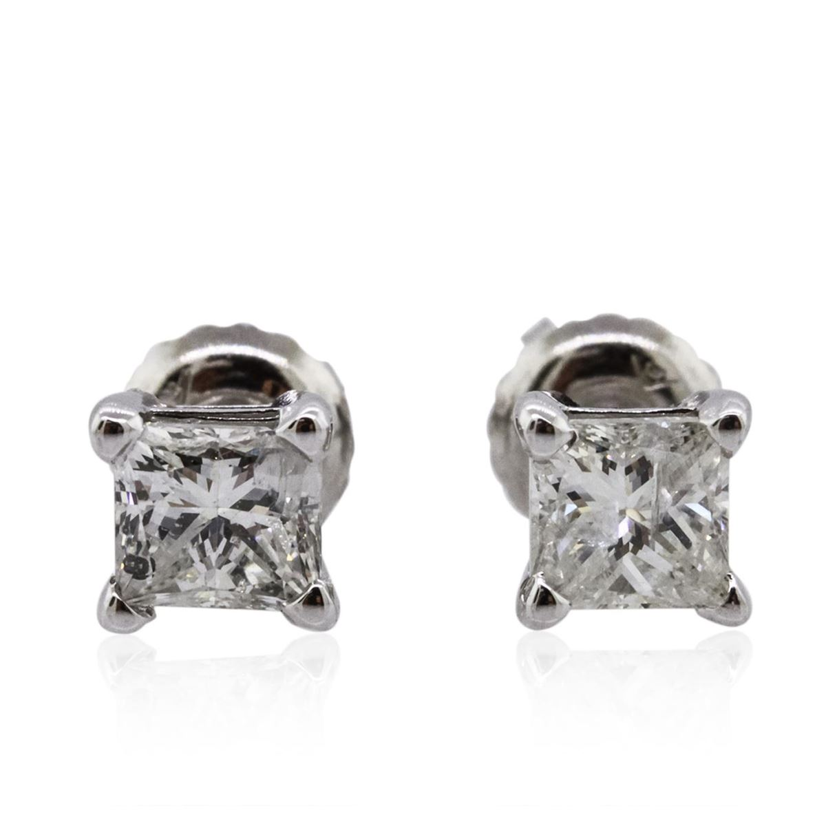 14KT White Gold 1.11ctw Diamond Solitaire Earrings