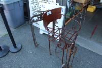 ANTIQUE BRASS CHAIR AND FIREPLACE UTENSILS - Able Auctions
