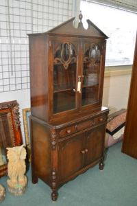 Mid 20th century walnut china cabinet with single storage ...