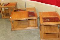 THREE PIECE OAK AND GLASS COFFEE TABLE SET