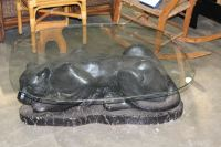BLACK PANTHER COFFEE TABLE WITH GLASS TOP