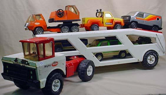 Mighty Vintage Vintage Mighty Tonka Car Hauler W/ 6 Tonka Vehicle
