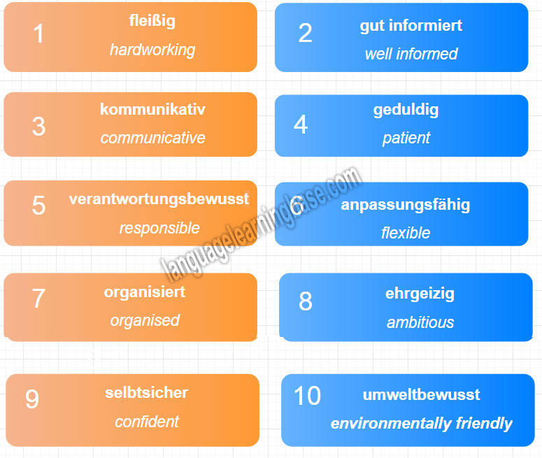 German Descriptive Words to Use in a Job Interview and Resume