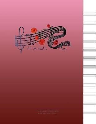 Manuscript Paper Notebook - Blank Sheet Music, Red Pink (Paperback