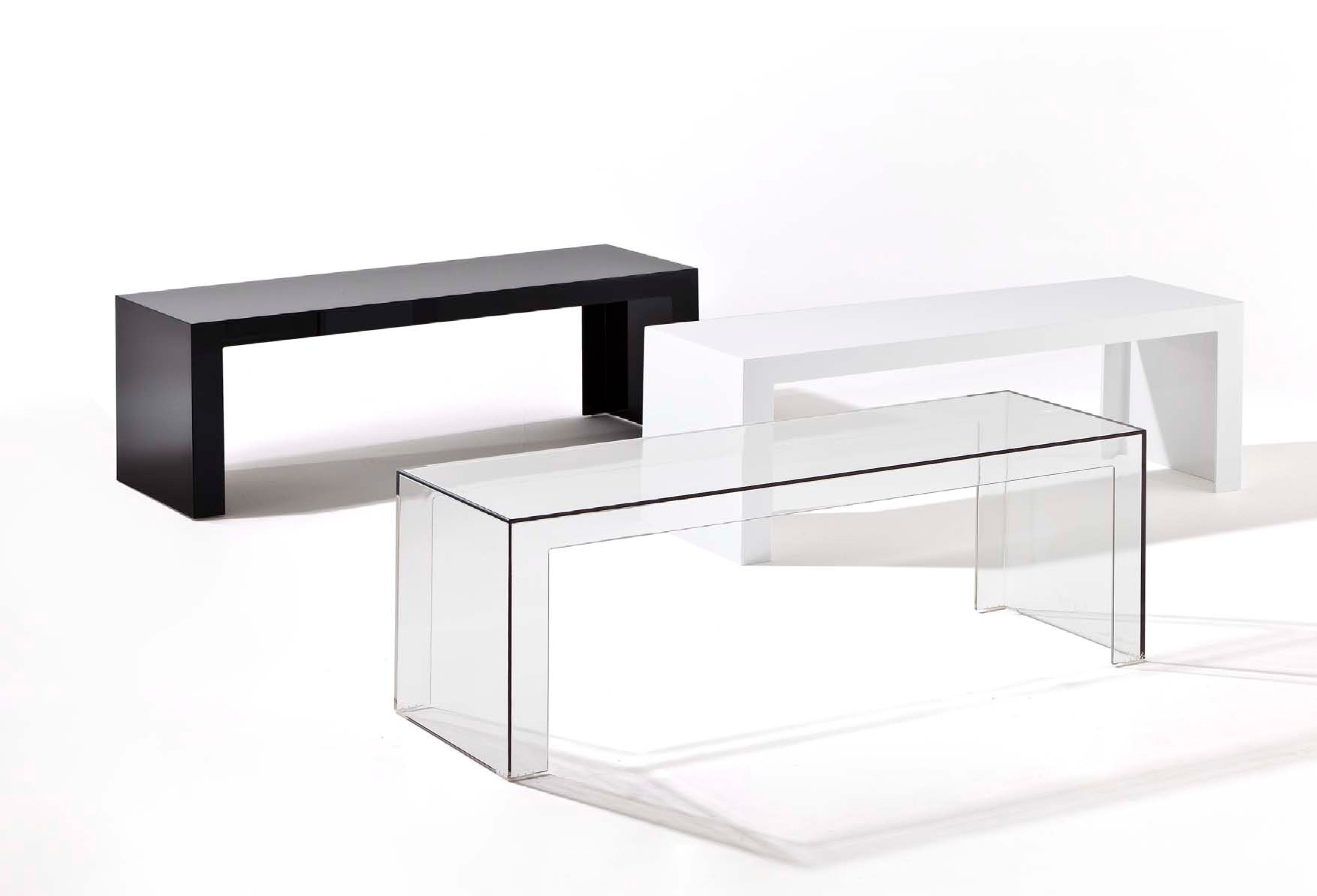 Meuble Tv Kartell Console Basse Invisibles Side L 120 X H 40 Cm Cristal