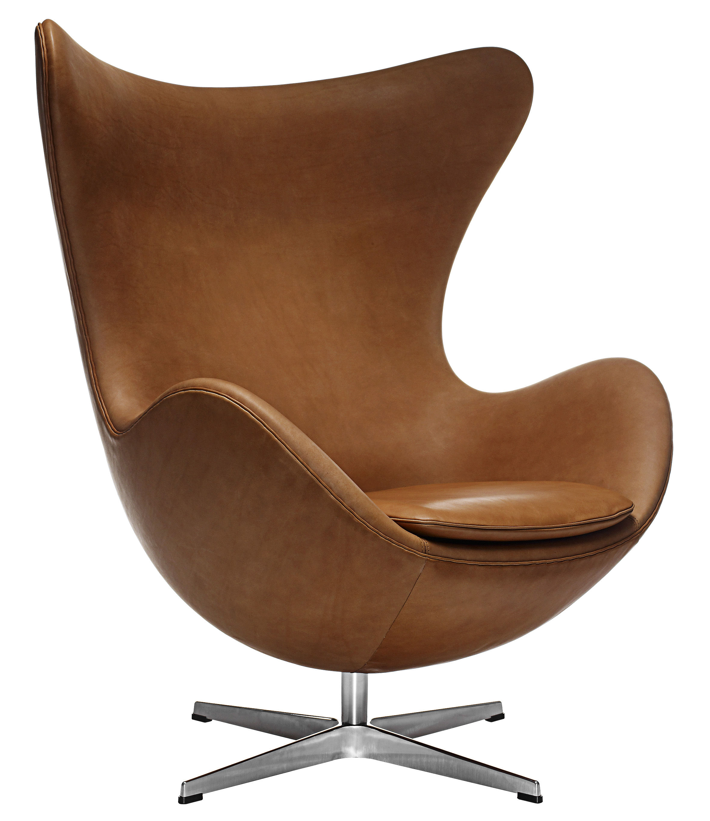 Egg Sessel Egg Chair Swivel Armchair - Leather By Fritz Hansen
