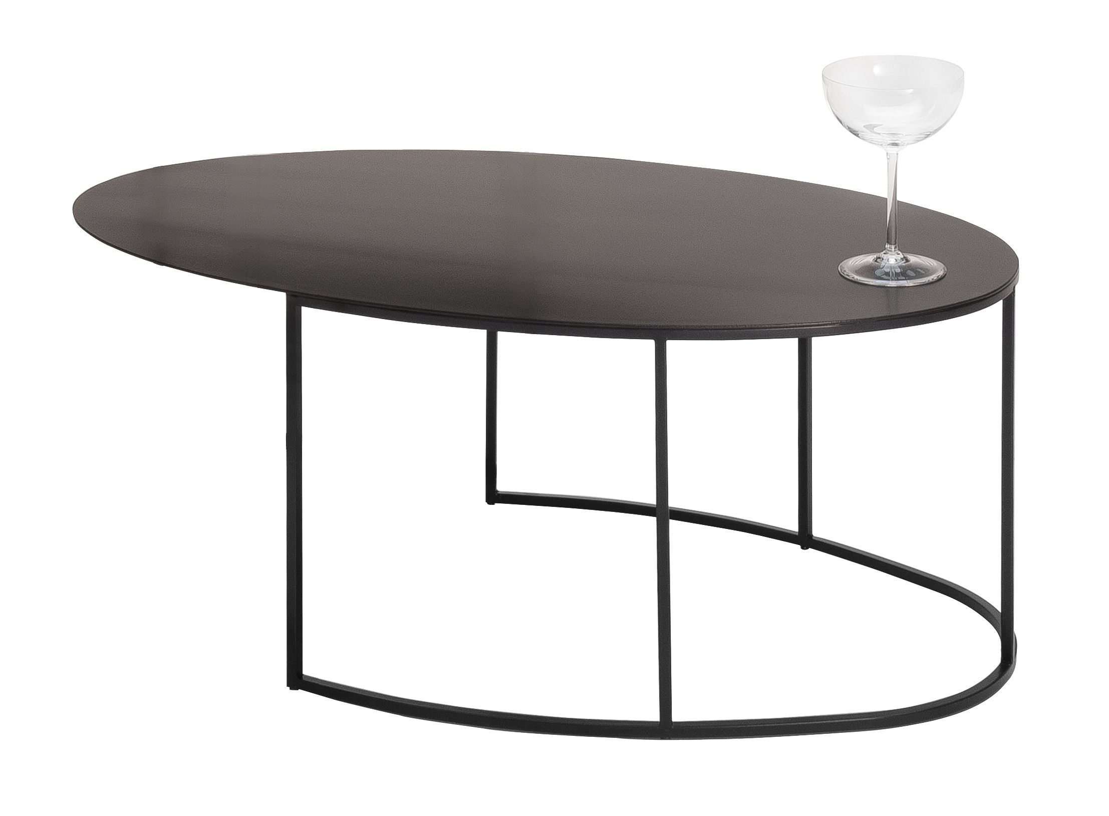 Leonardo Couchtisch Slim Irony Coffee Table - Oval - H 29 Cm 72 X 42 - Black