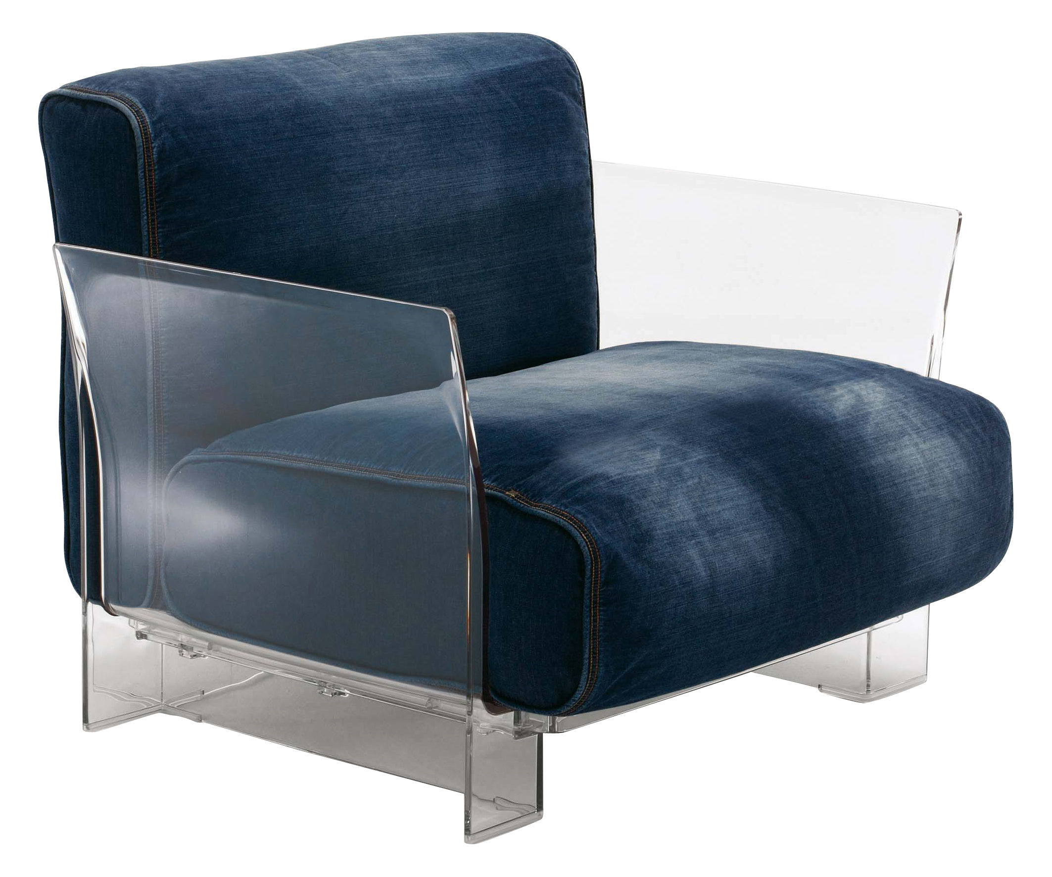 Fauteuils Pop Pop Padded Armchair Denim By Kartell