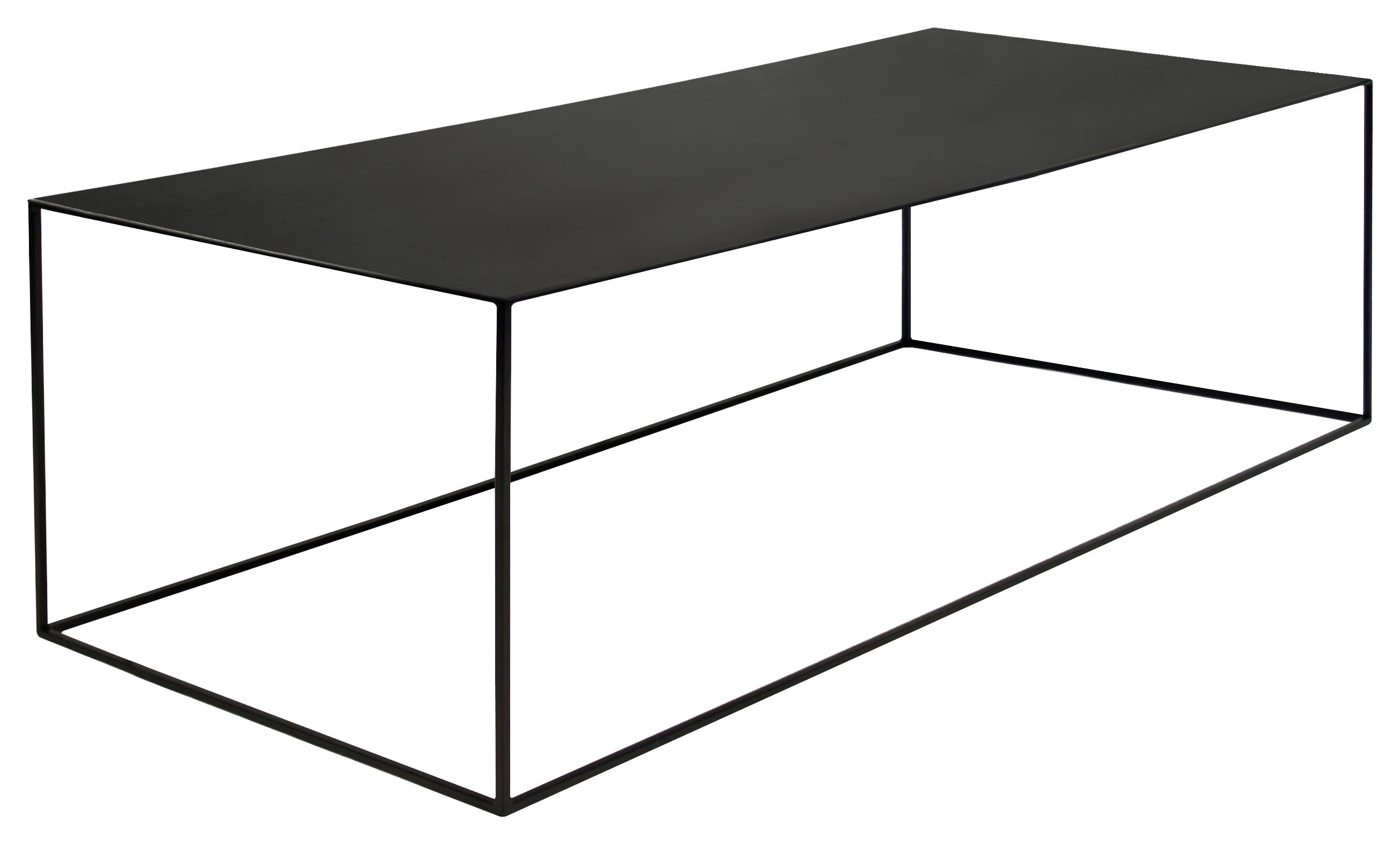 Table Noir Table Basse Slim Irony / 124 X 62 X H 34 Cm Métal Noir
