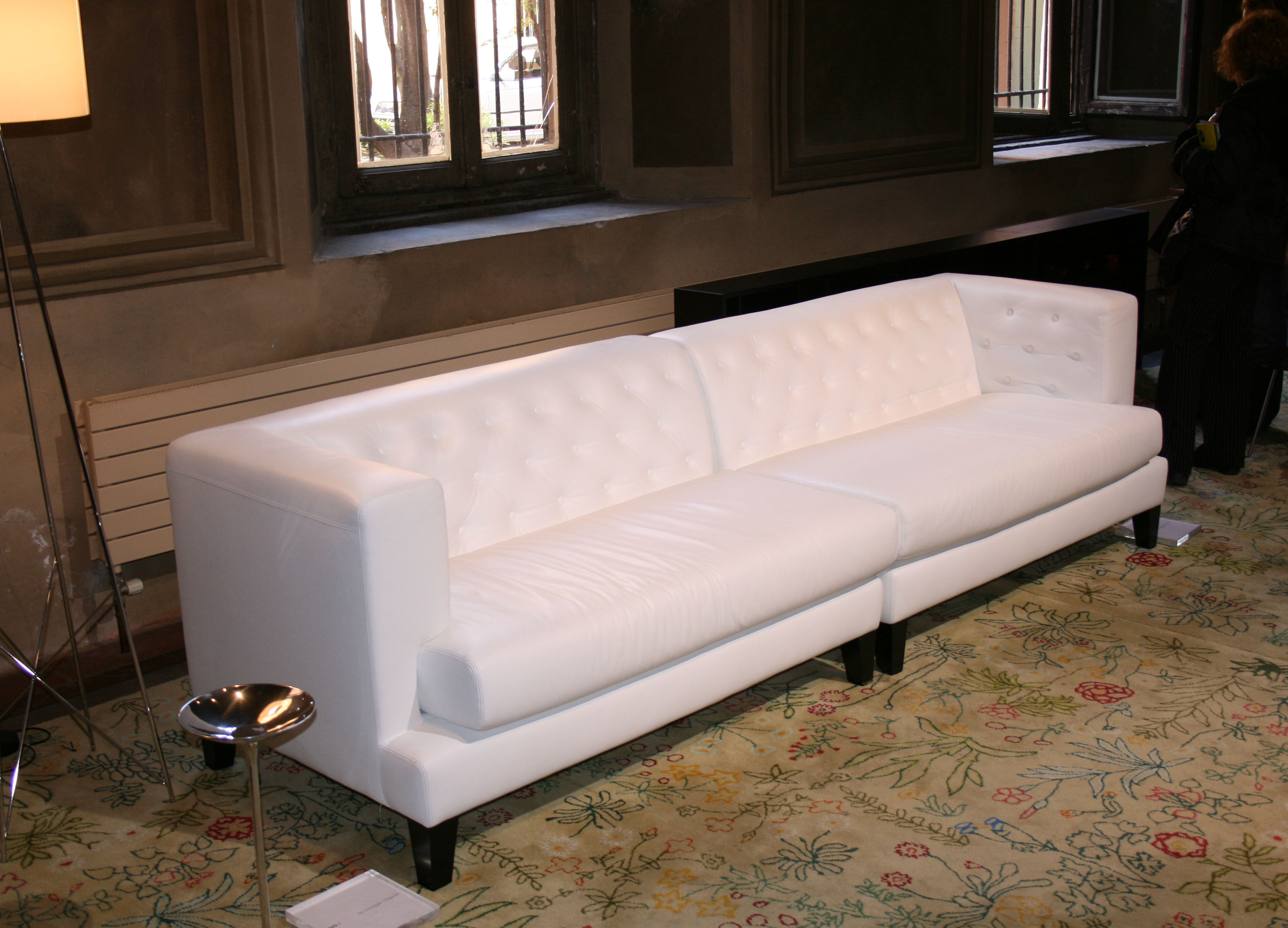 High Back Sofas Office Hall Straight Sofa - 3 Seats - Leather Version White By
