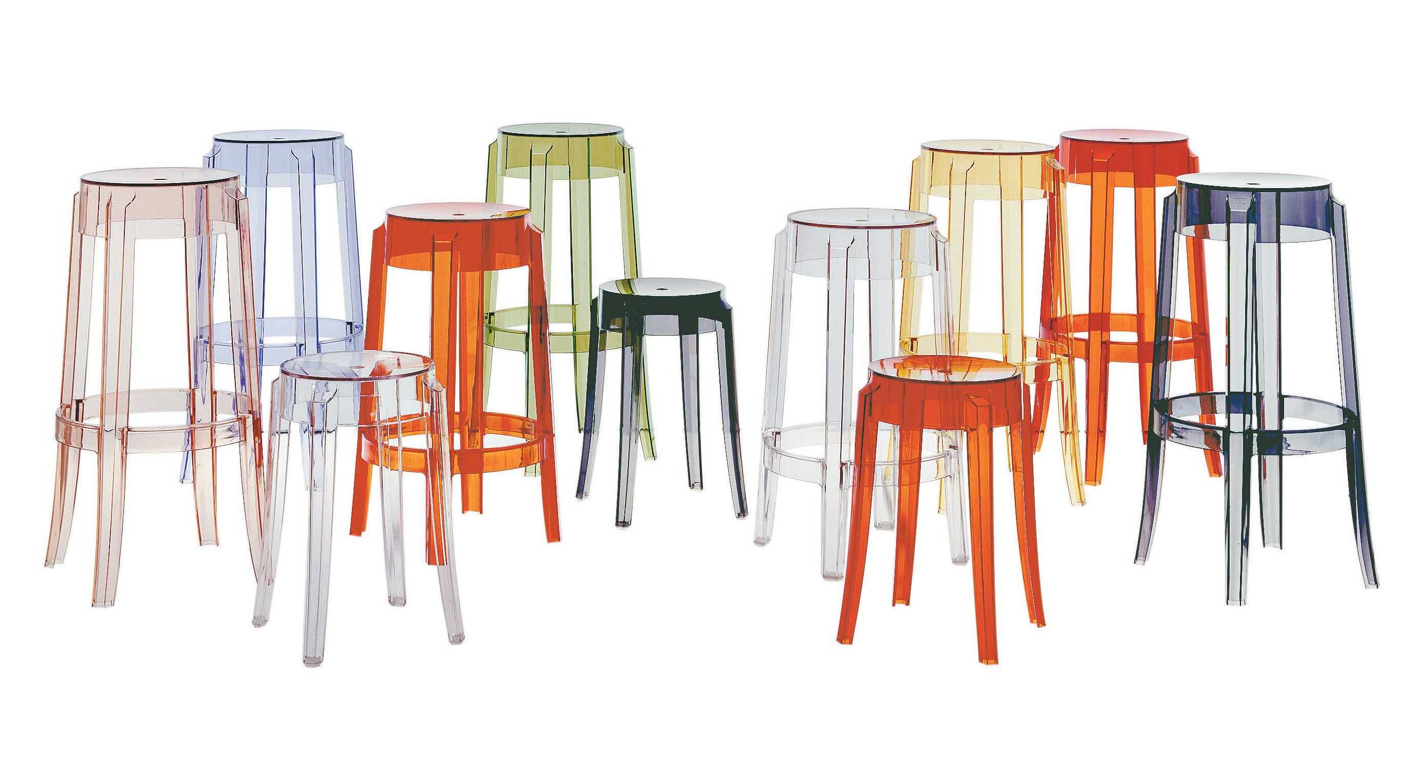 Tabourets Bar Empilables Tabouret Haut Empilable Charles Ghost H 65 Cm Plastique Kartell