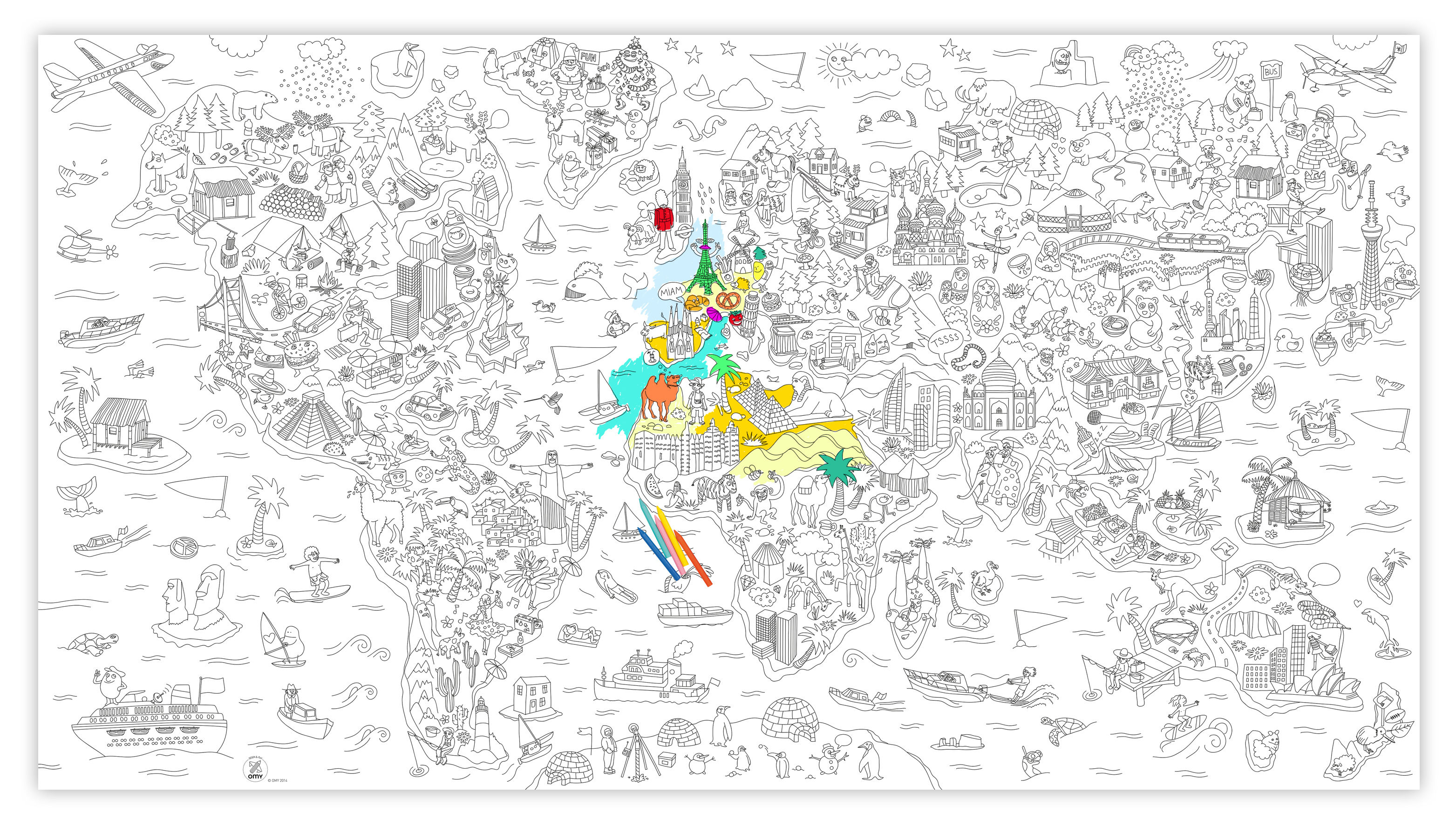 Atlas Decoration Xxl Atlas Colouring Poster Giant L 180 X 100 Cm By Omy Design Play