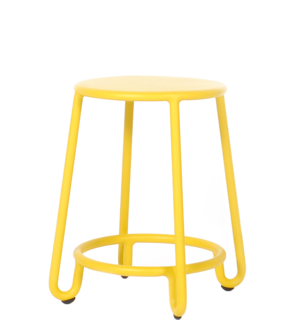 Tabourets Moutarde Tabouret Huggy H 45 Cm Aluminium Moutarde Maiori Made In