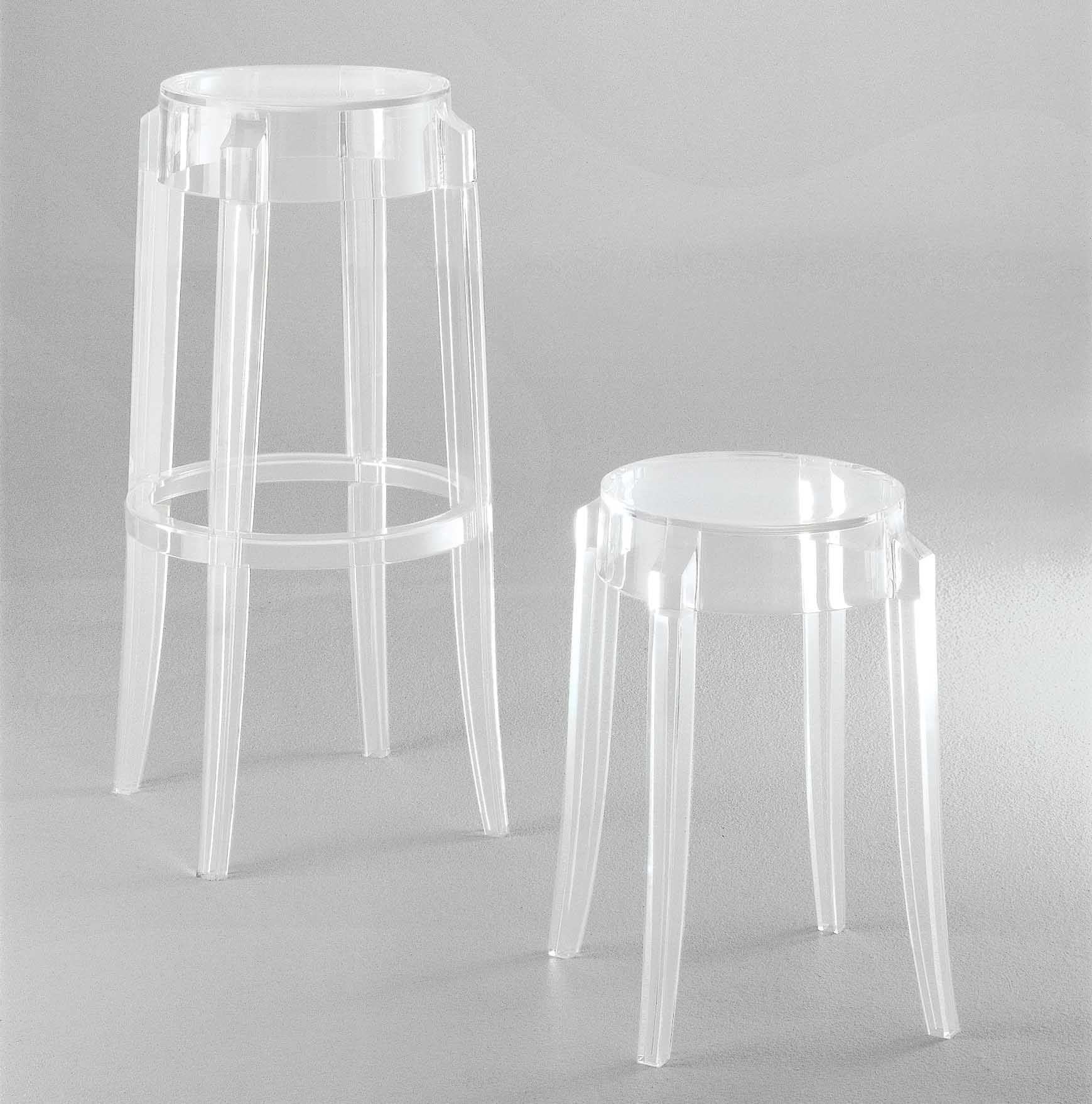 Tabourets Ghost Tabouret Empilable Charles Ghost Kartell Rose Saumon
