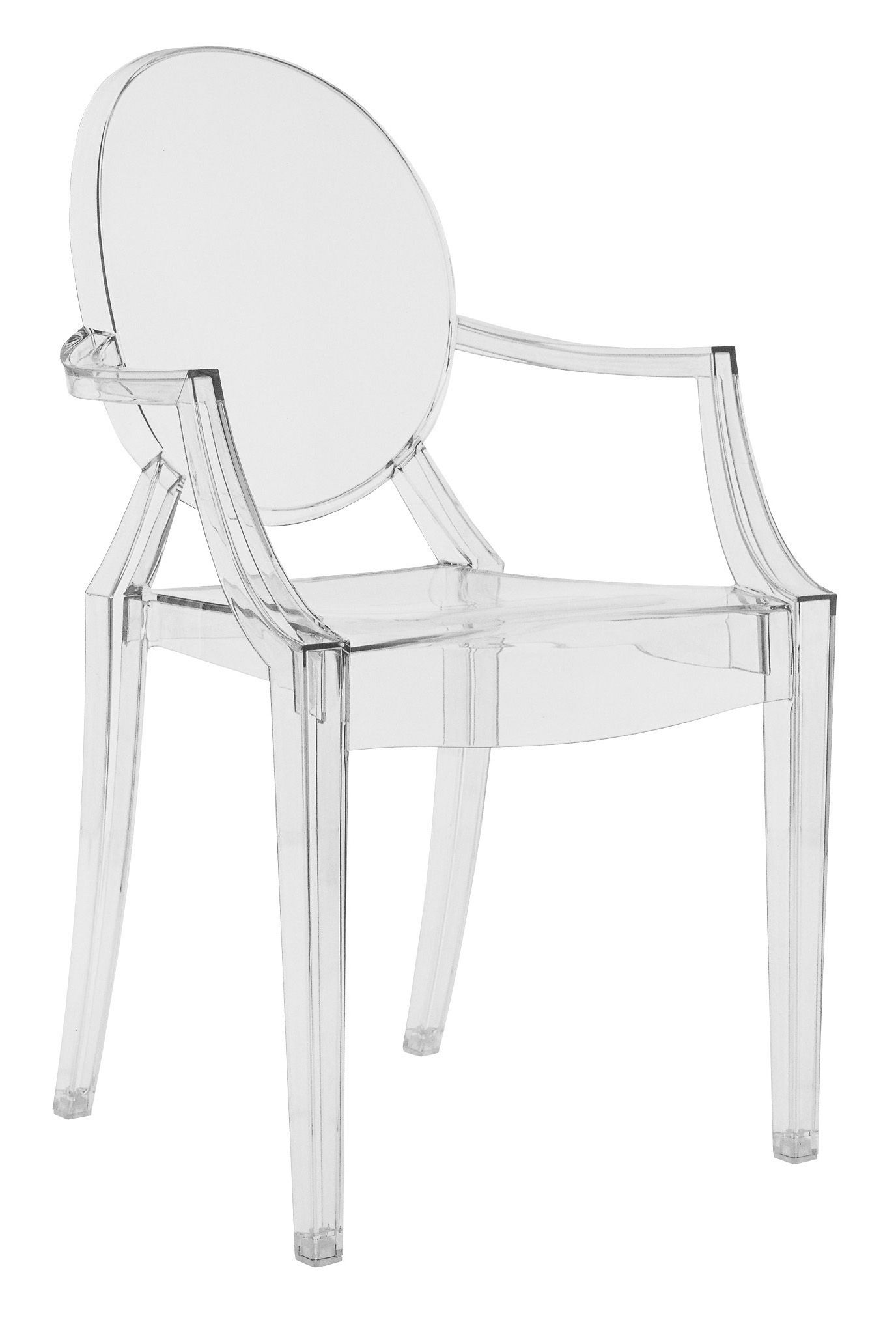 Mobilier Transparent Fauteuil Empilable Louis Ghost Transparent Polycarbonate Kartell