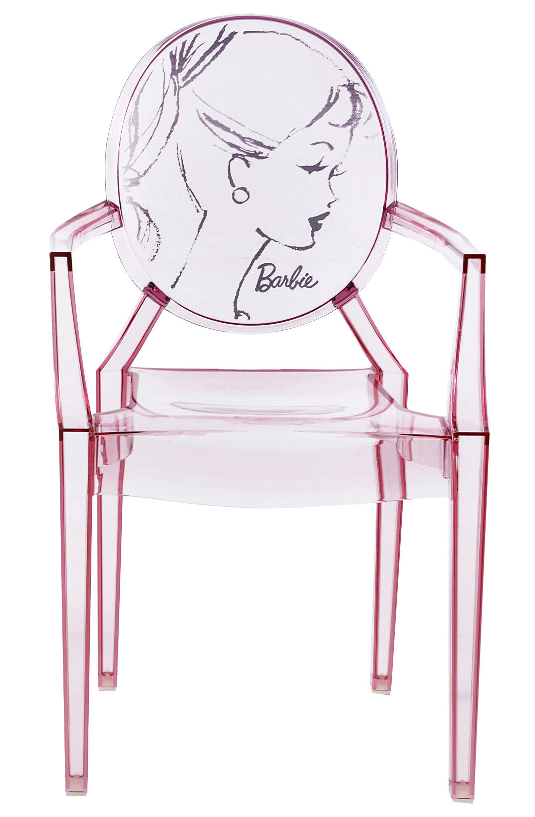 Chaises Polycarbonate Starck Fauteuil Empilable Louis Ghost Barbie Kartell Rose