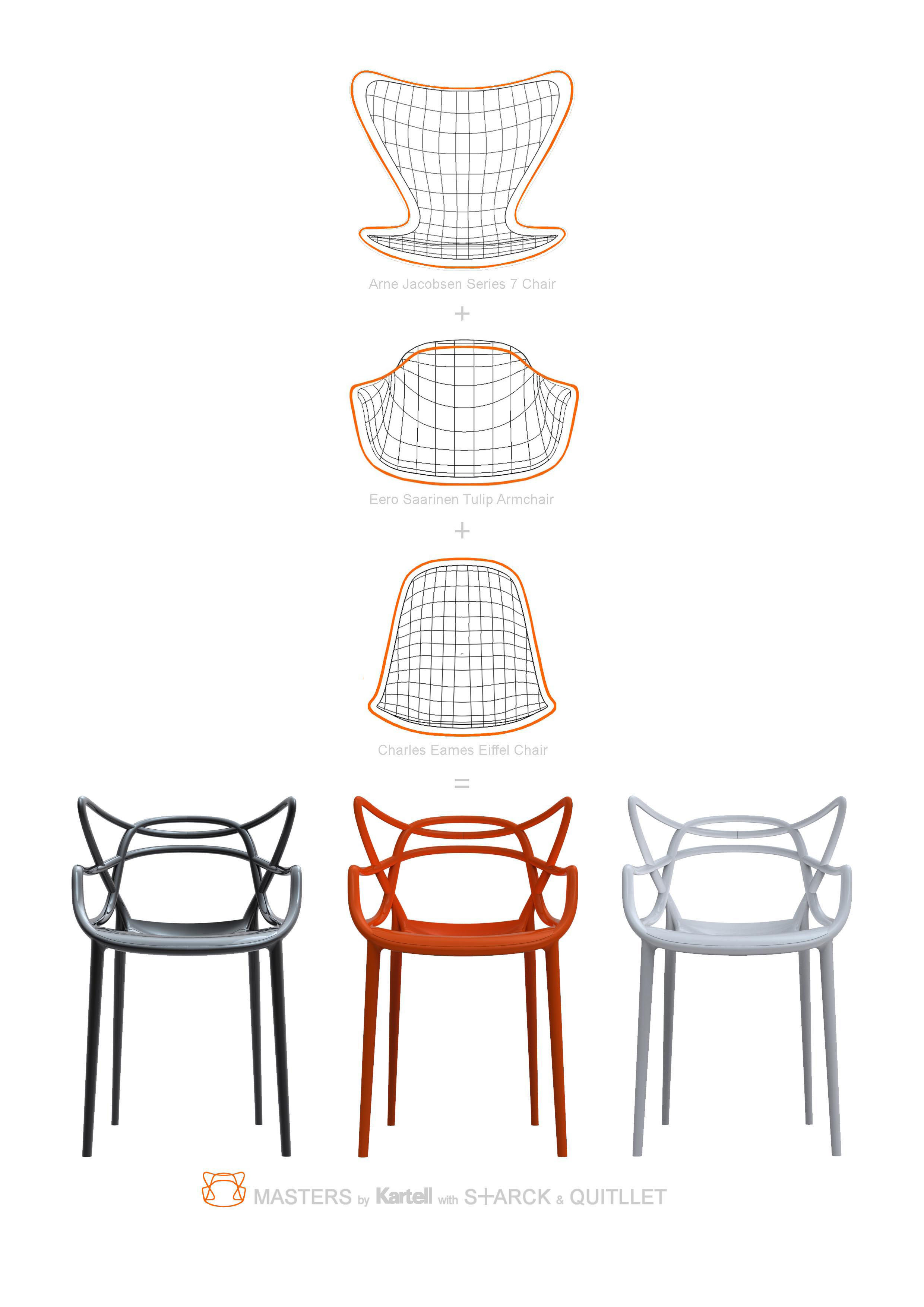 Chaises Masters Starck Fauteuil Empilable Masters Kartell - Blanc | Made In Design