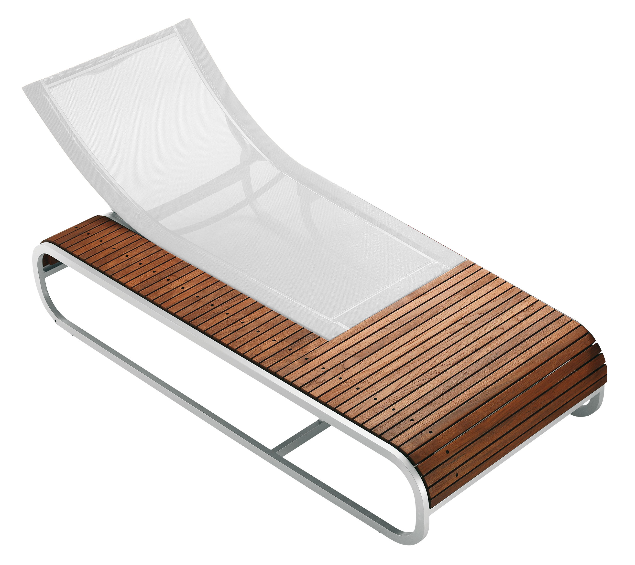 Teak Liege Tandem Reclining Chair Teak Version By Ego Paris