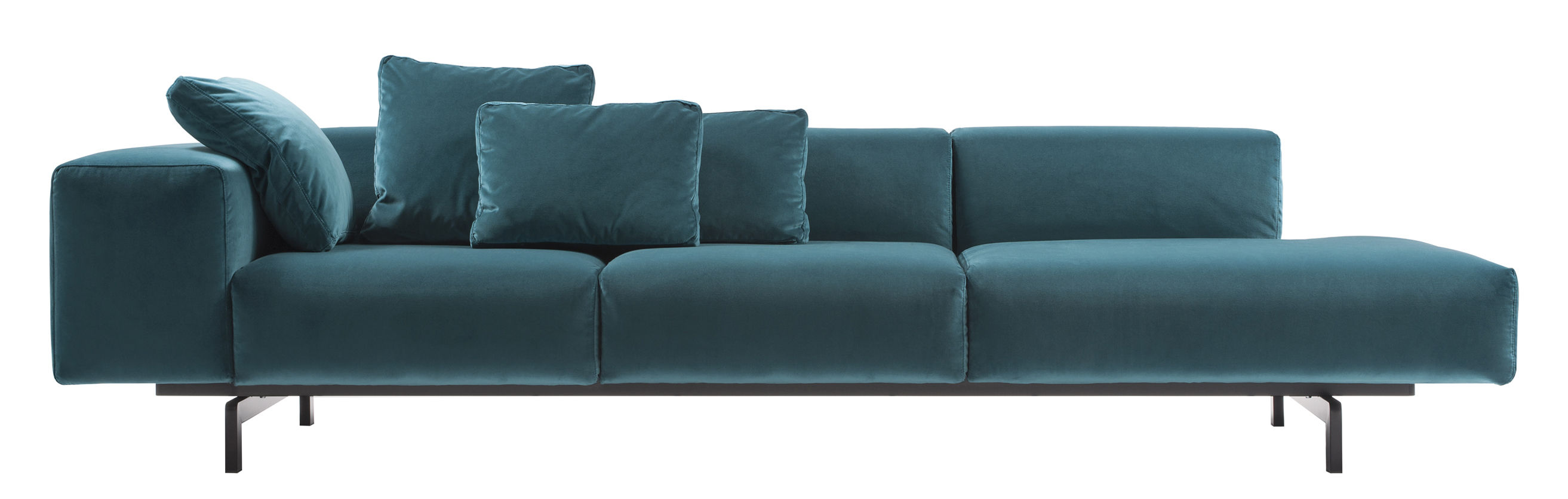 Kartell Sofa Largo Velluto Straight Sofa 3 Seaters L 298 Cm Left Armrest By Kartell