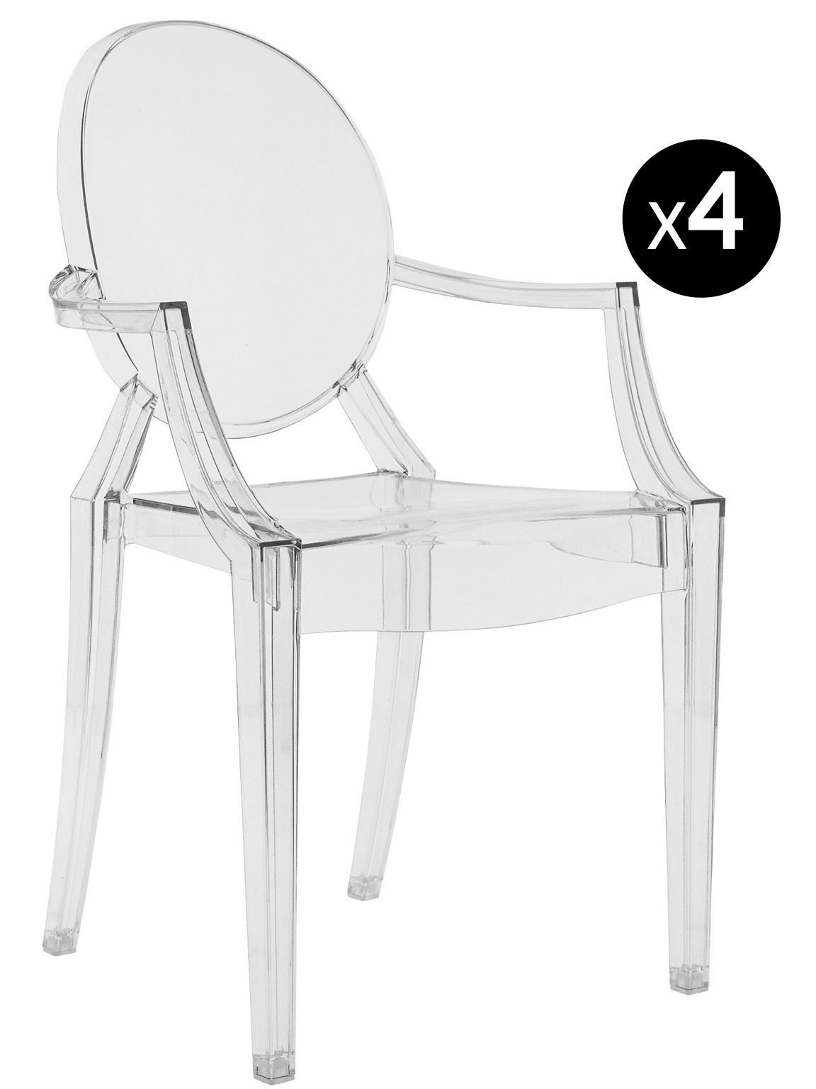 Chaises Starck Le Bon Coin Fauteuil Empilable Louis Ghost Lot De 4 Kartell