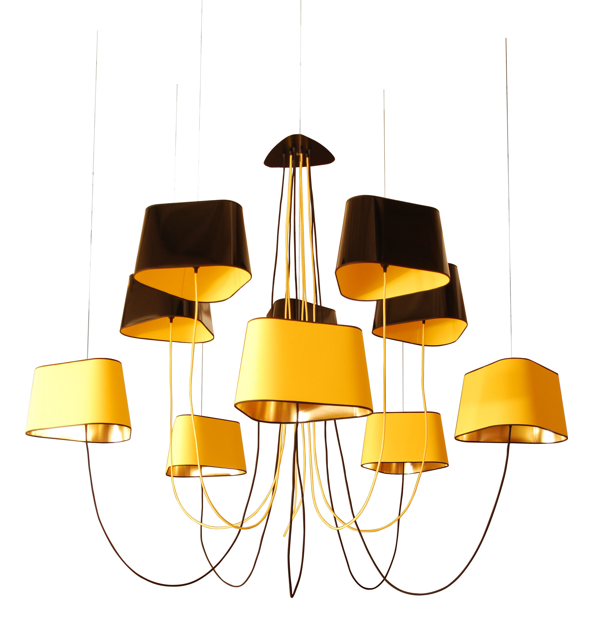 Suspension Luminaire Grand Diametre Suspension Grand Nuage 10 Abat Jours Noir Jaune Or