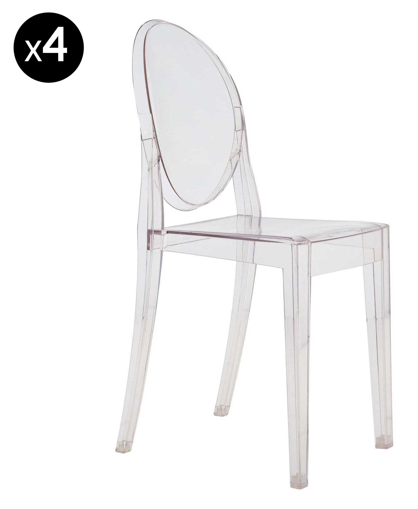 Chaise Philippe Starck Chaise Empilable Victoria Ghost Lot De 4 Kartell