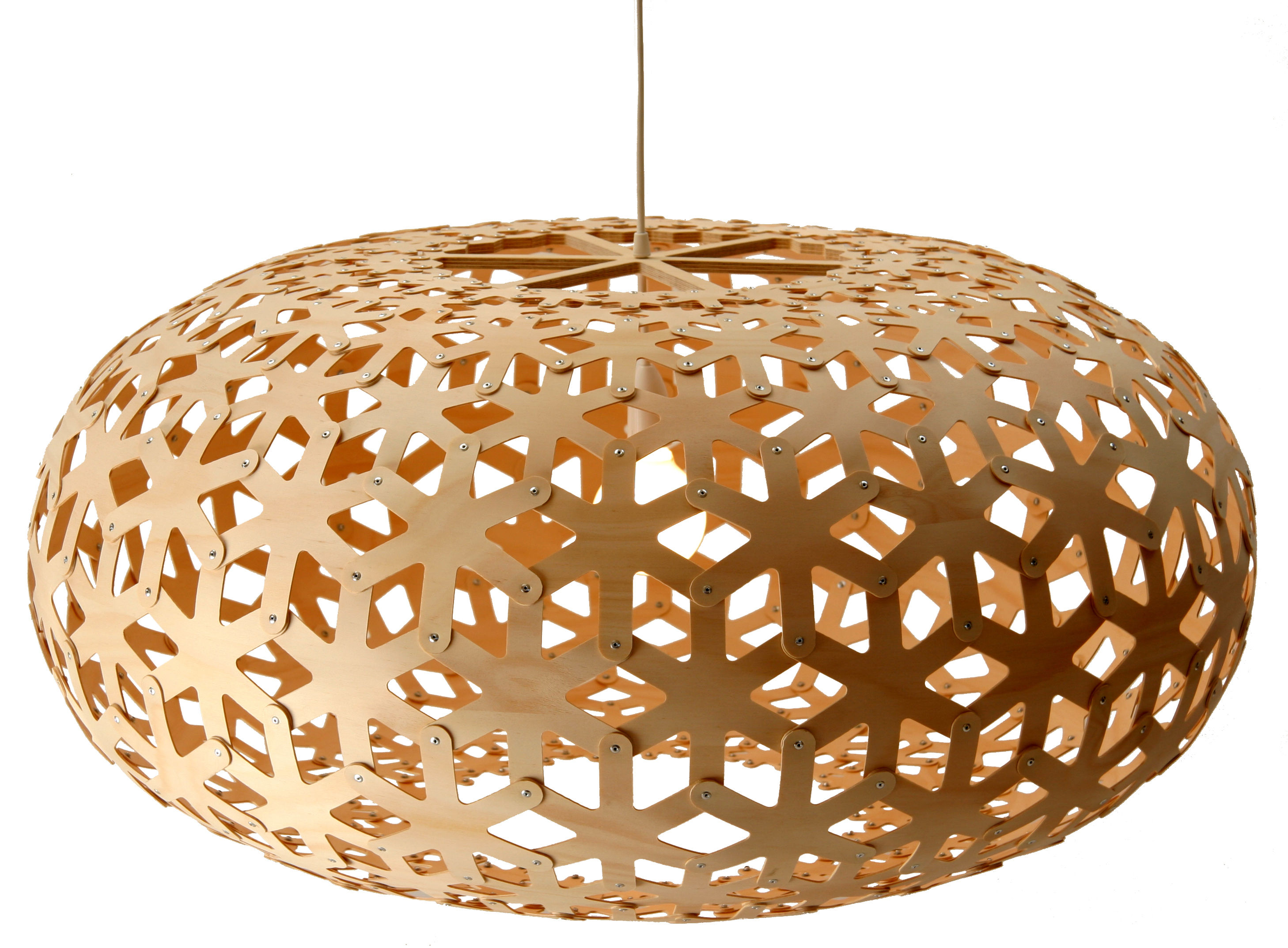 Plafonnier Bois Naturel Suspension Snowflake Ø 100 Cm David Trubridge