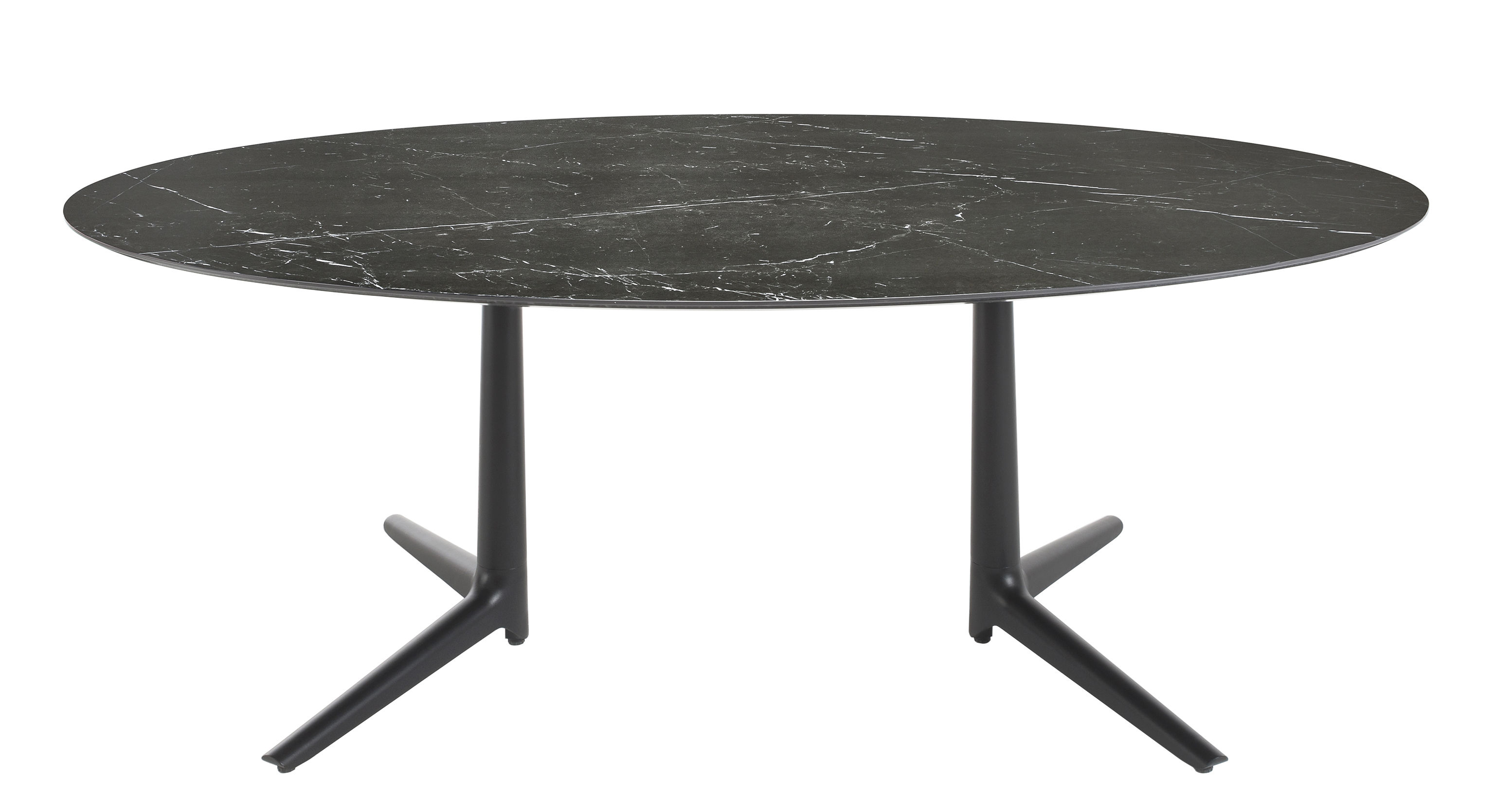 Table Ovale Multiplo Indoor Table Ovale 192 X 118 Cm Marble Aspect By Kartell